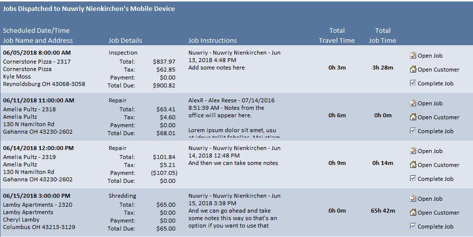 Smart Service screen of jobs sent to employee
