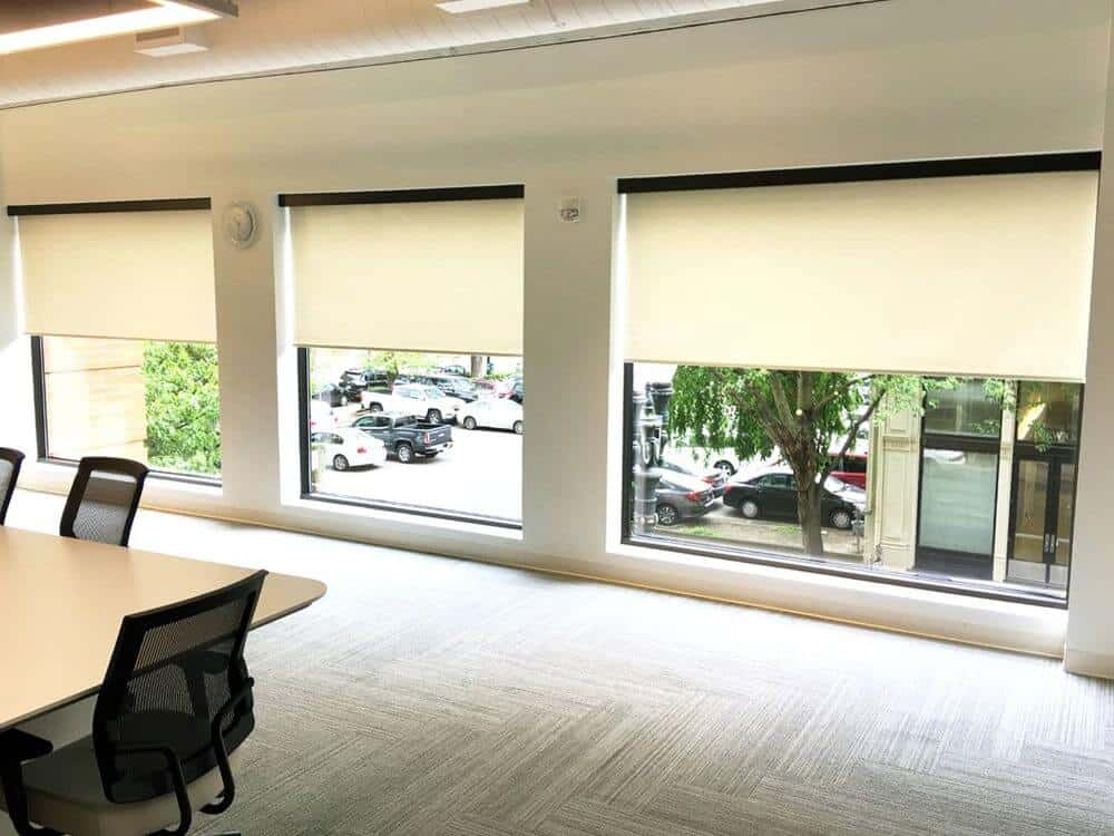 A large office conference room featuring stylish carpet flooring and a custom ceiling. The room offers a large table paired with modern office chairs, surrounded by large windows featuring window shades.