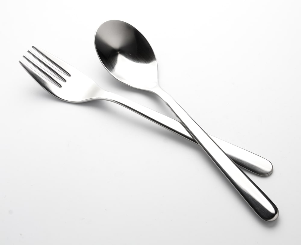 Stainless steel spoon and fork.