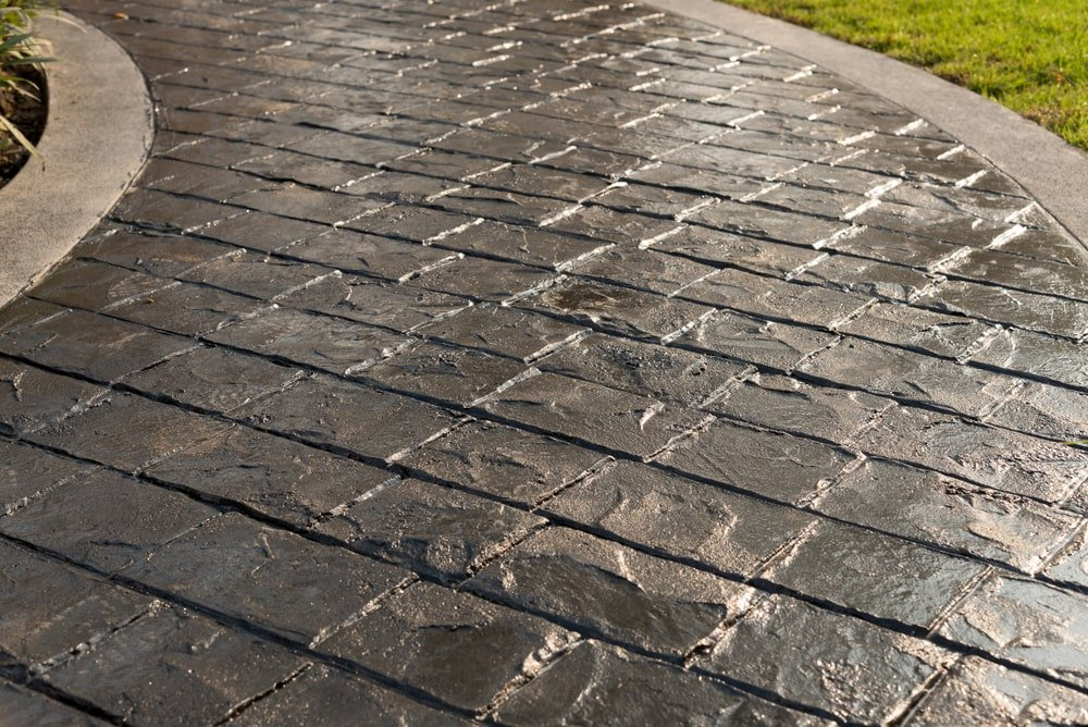 Texture of stamped concrete.