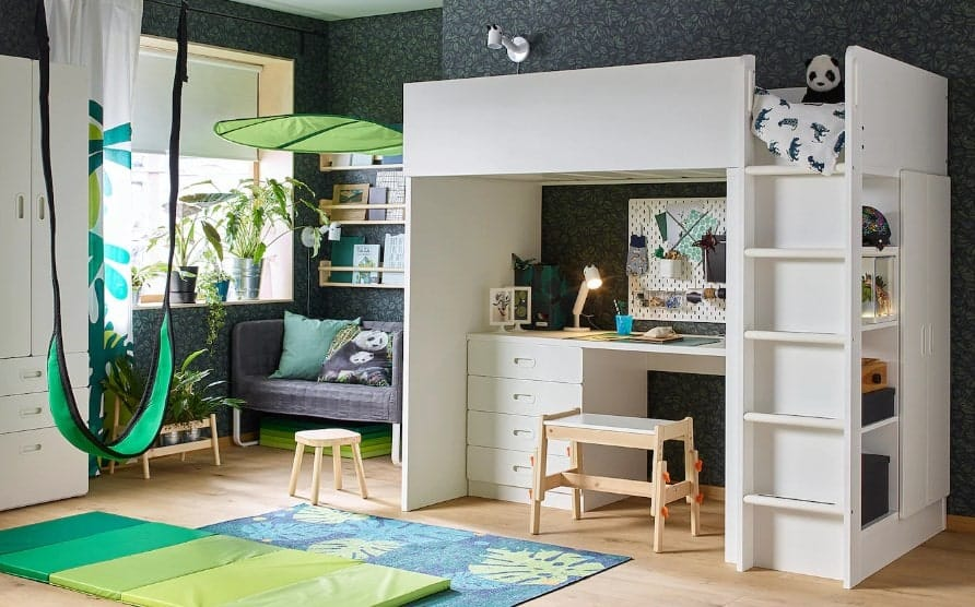 Stuva Fritids Loft Bed Combo with 4 Drawers and 2 Doors by IKEA
