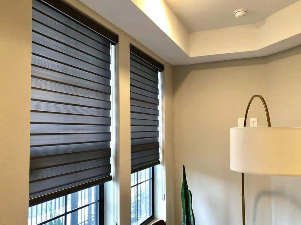 A focused look at this house's windows featuring transitional window shades. The house has a tray ceiling as well.