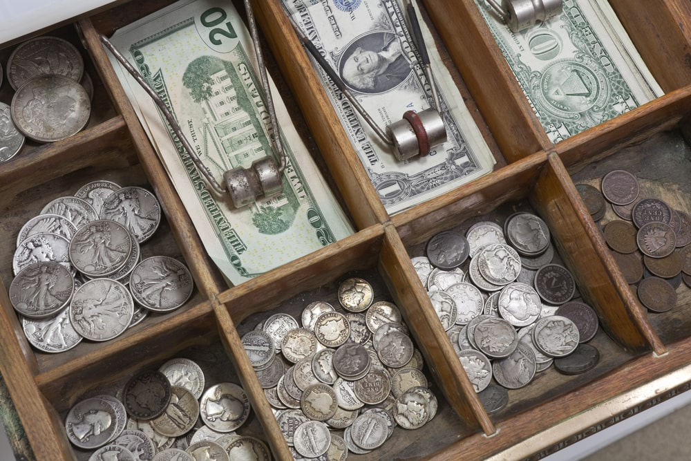 Drawer filled with vintage money.