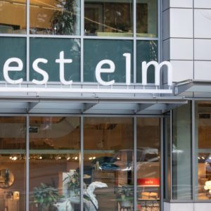 west elm signage at a storefront in Seattle, Wa.