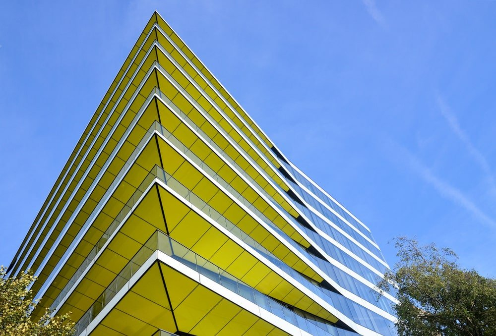 Yellow soffits as seen in the apartments esigned by David Walker and EPR Architects in London, UK.