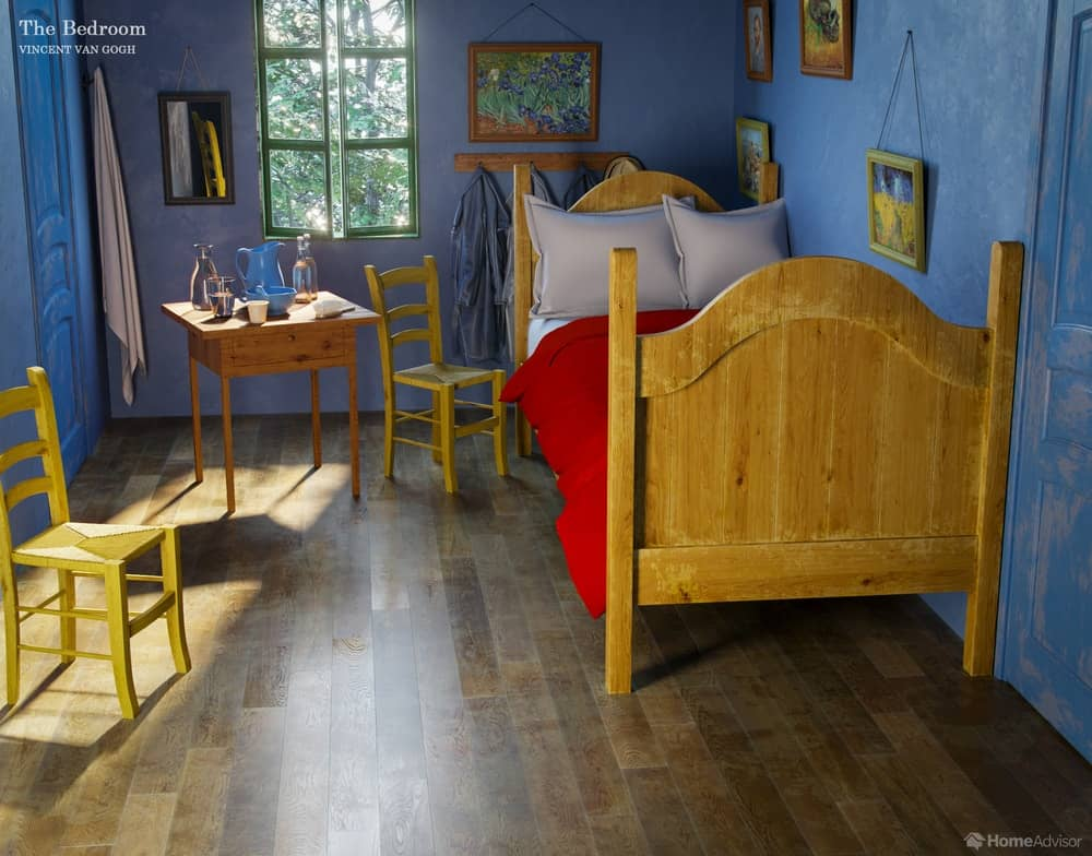 HomeAdvisor's real-life rendition of The Bedroom by Vincent Van Gogh.