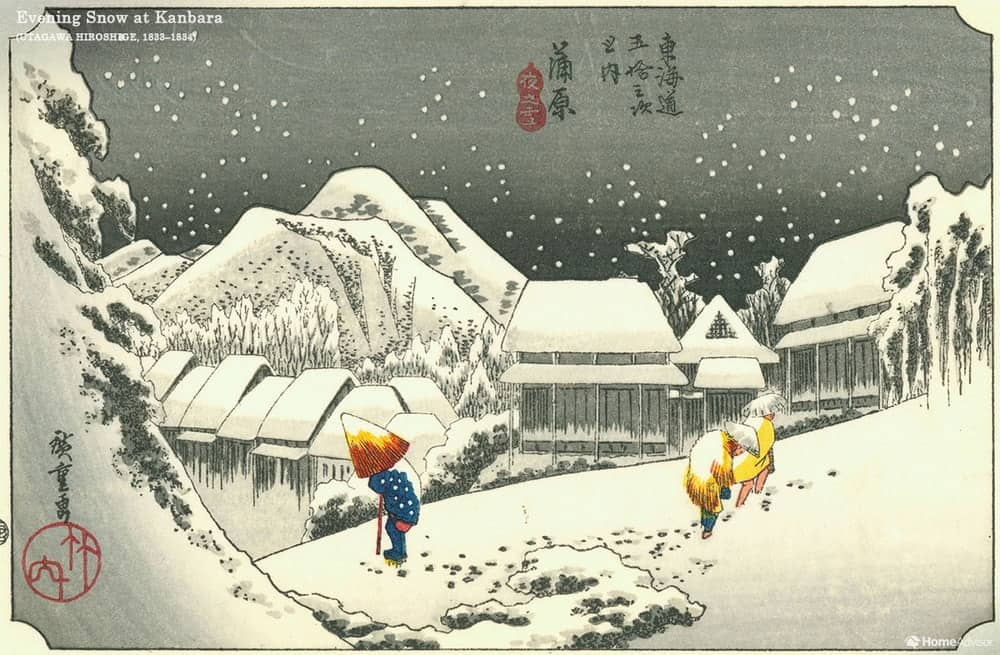 Evening Snow at Kanbara by Utagawa Hiroshige