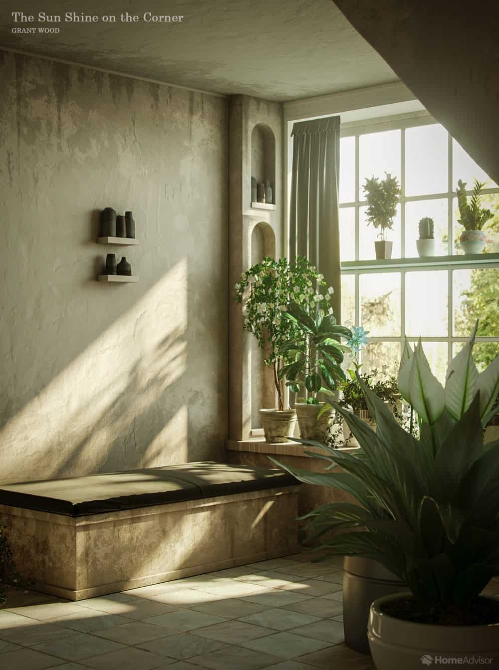 HomeAdvisor's real-life rendition of The Sun Shine on the Corner by Grant Wood