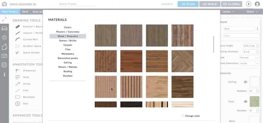 Screenshot of the Space Designer 3D Software materials options.