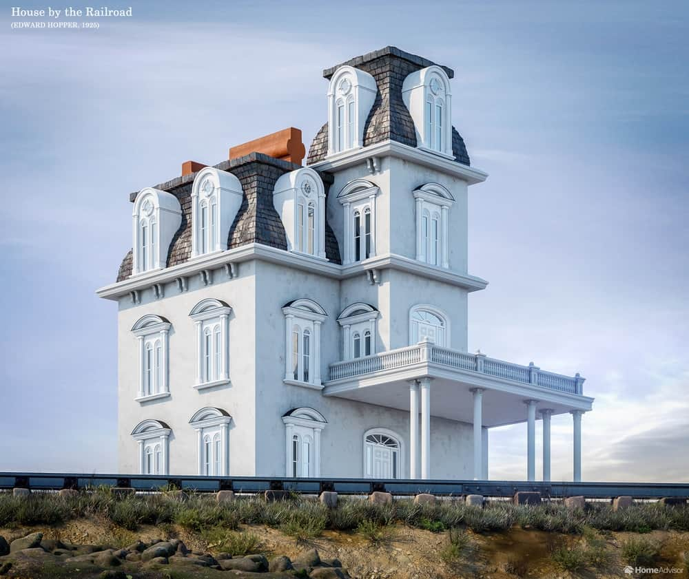 HomeAdvisor's real-life rendition of House by the Railroad by Edward Hopper.