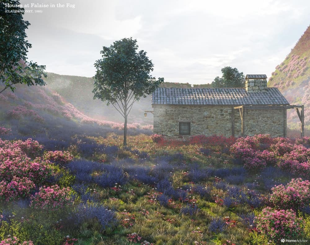 HomeAdvisor's real-life rendition of Houses At Falaise In The Fog by Claude Monet.