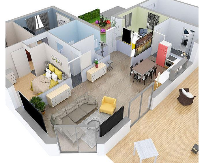 Screenshot of the Space Designer 3D Software detailed 3D floor plan.