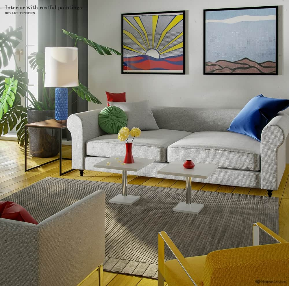 HomeAdvisor's real-life rendition of Interior with restful paintings by Roy Lichtenstein