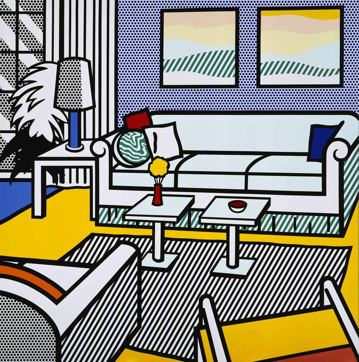 Interior with restful paintings by Roy Lichtenstein
