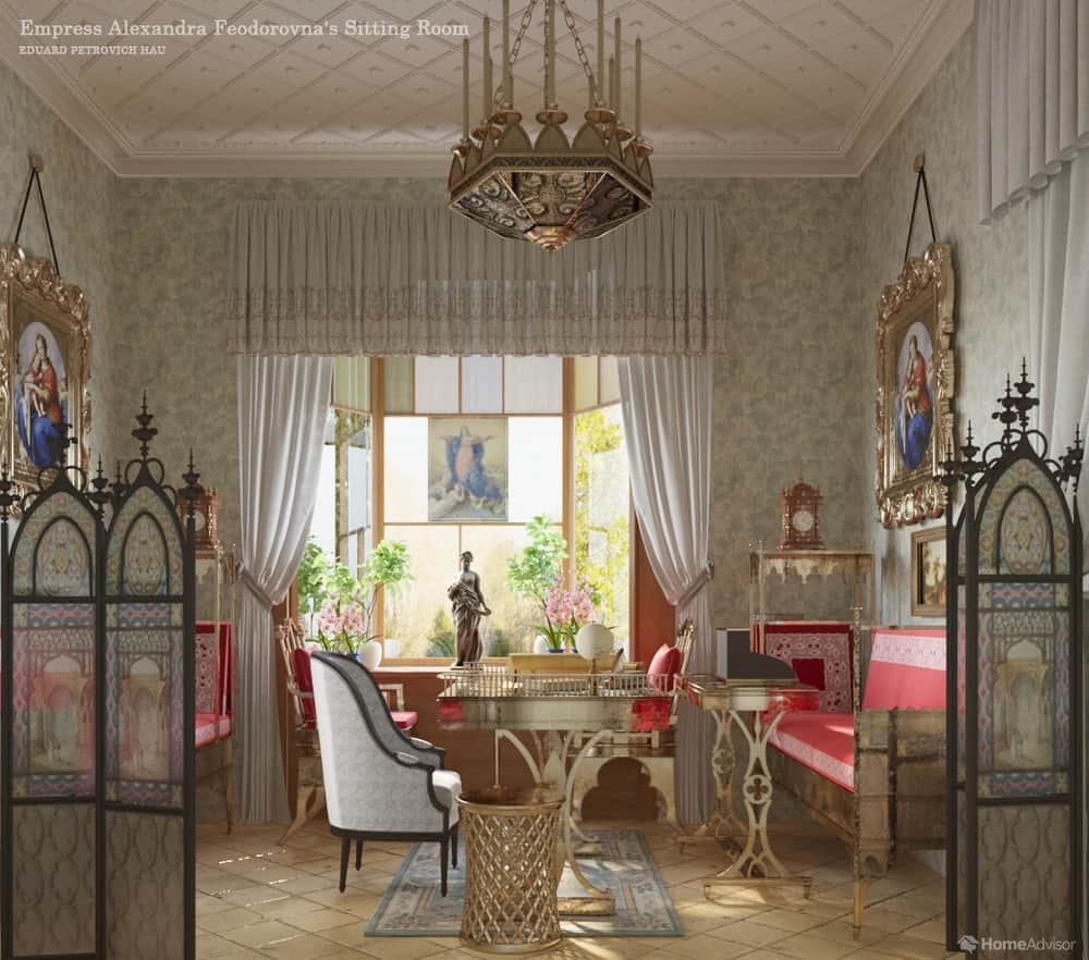HomeAdvisor's real-life rendition of Empress Alexandra Feodorovna's Sitting Room, Cottage Palace, St. Petersburg, Russia by Eduard Petrovich Hau