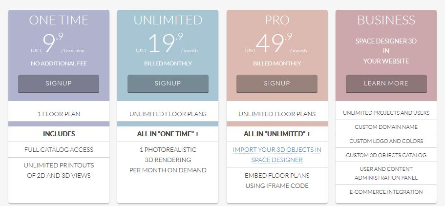 Screenshot of the Space Designer 3D Software prices.