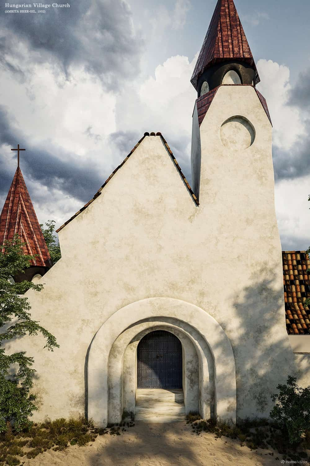 HomeAdvisor's real-life rendition of Hungarian Village Church by Amrita Sher-Gil.