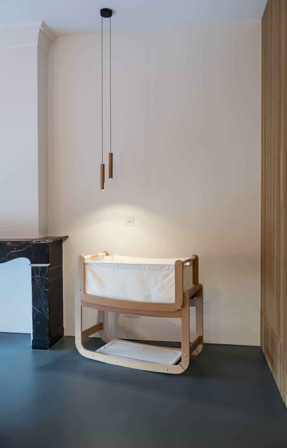 Cradle inside the primary bedroom in the Frans Halsstraat designed by Cantero Architecture.