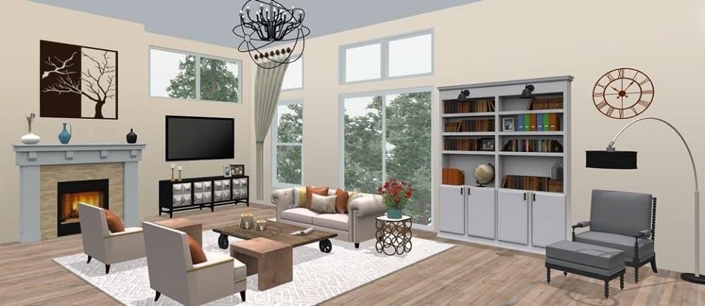 Screenshot of the Space Designer 3D Software 3D living room.