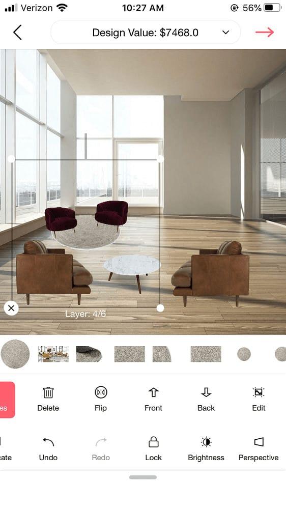 Screenshot of the DecorMatters rug layering.