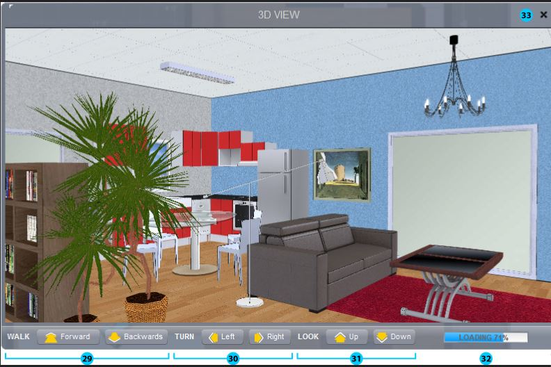 Screenshot of the Space Designer 3D Software 3D view.
