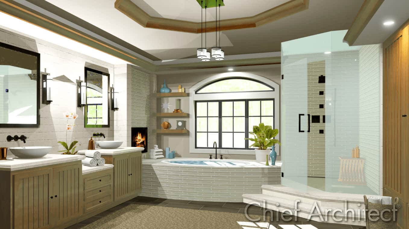 Luxury primary bathroom designed by Chief Architect Software