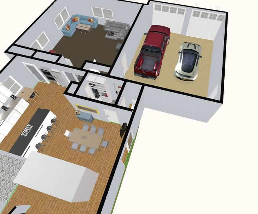 Screenshot of the Space Designer 3D Software 3D floor plan.