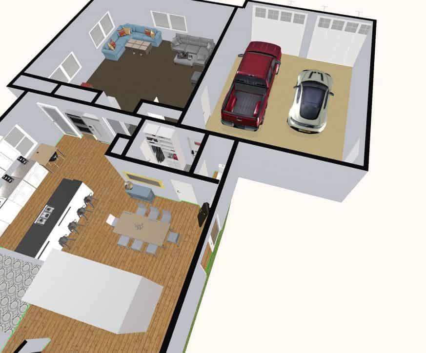 Screenshot of the Space Designer 3D Software 3D floor plan.