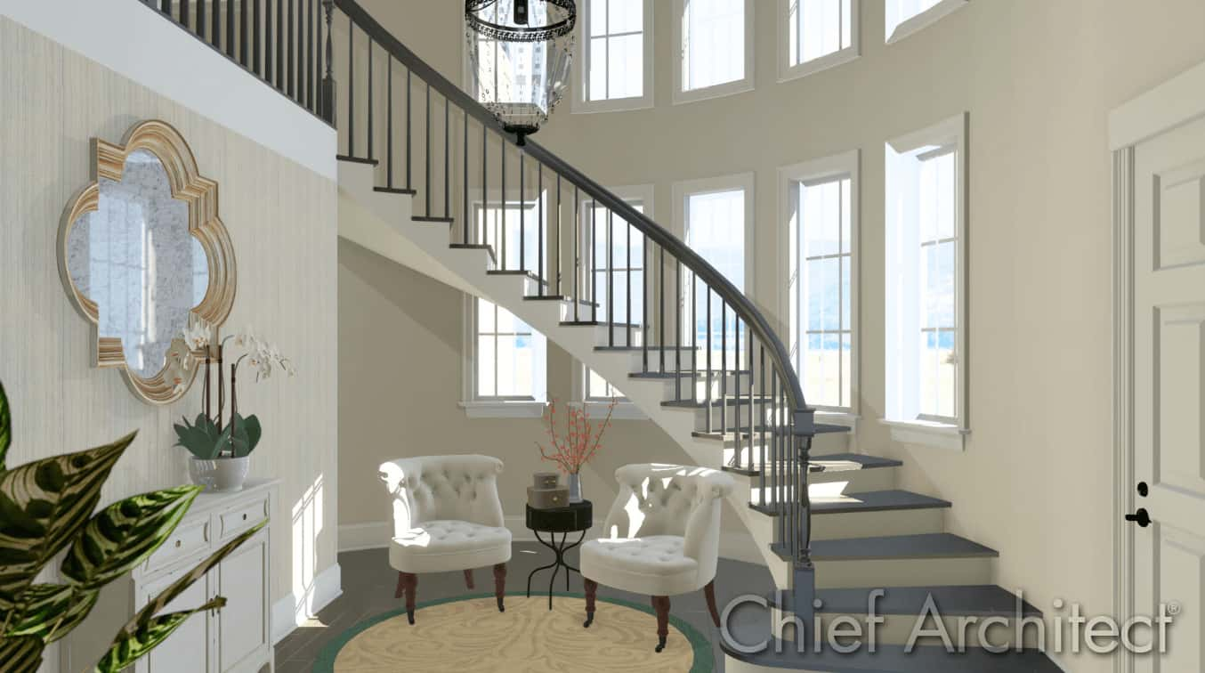 Luxury foyer designed by Chief Architect