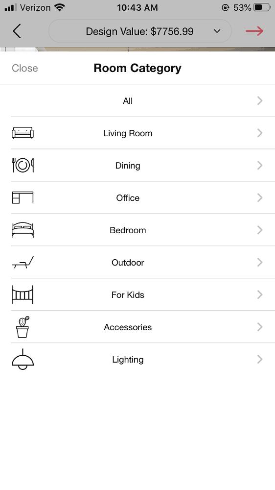 Screenshot of the DecorMatters room category menu.