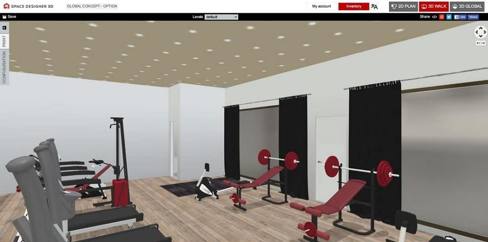 Screenshot of the Space Designer 3D Software 3D gym.