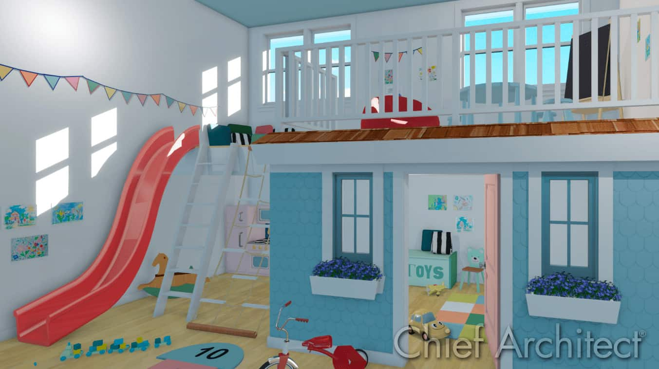 Fun kids room with loft and slide by Home Designer Software