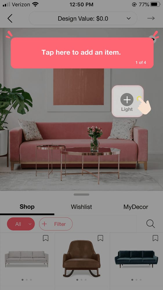 Screenshot of the DecorMatters tutorial screen.