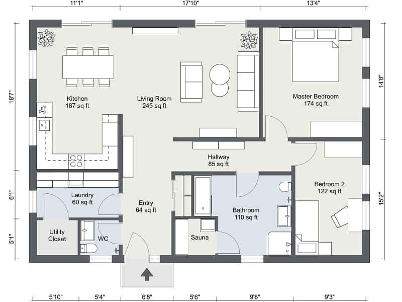 Screenshot of the RoomSketcher Software 2D floor plan.