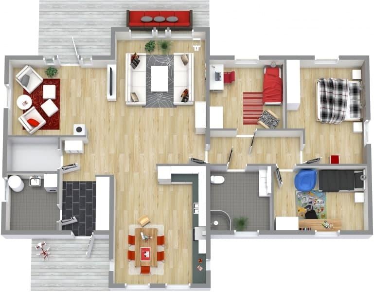 Screenshot of the RoomSketcher Software 3D floor plan.