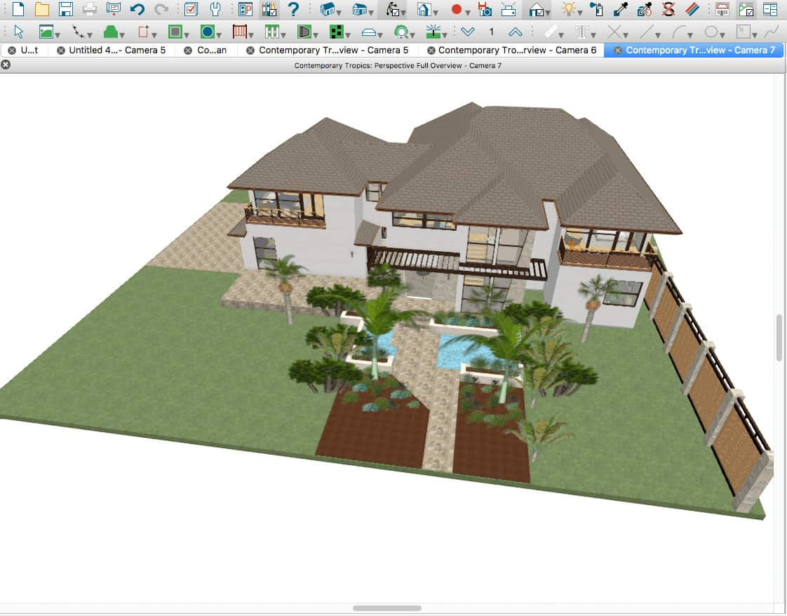 Chief Architect 3D view of contemporary tropics home