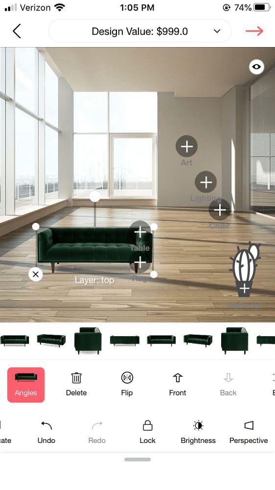 Screenshot of the DecorMatters small furniture sizing.