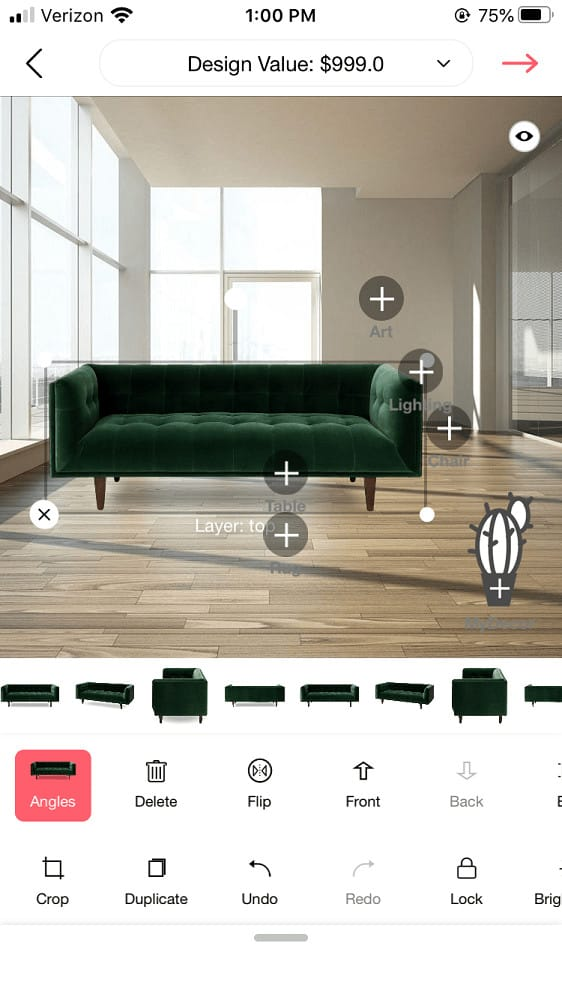 Screenshot of the DecorMatters furniture sizing.