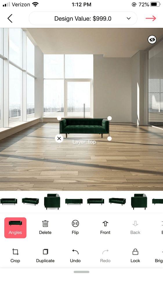 Screenshot of the DecorMatters furniture edit menu.