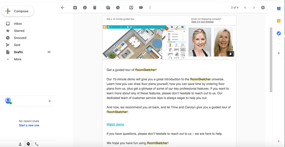Screenshot of the RoomSketcher Software E-mail Tutorial.
