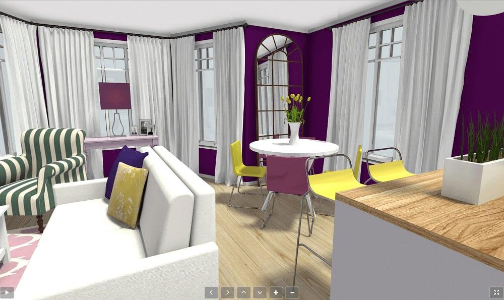 Screenshot of the RoomSketcher Software live walk through.