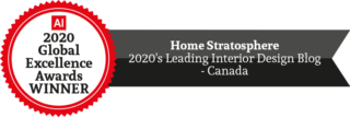 Award badge - 2020 Leading Interior Design Blog - Canada
