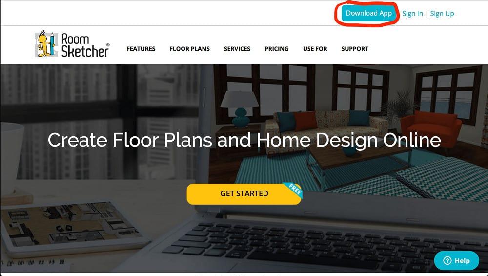 Screenshot of the RoomSketcher Software setup step 1.
