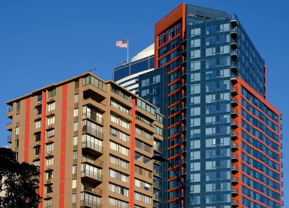 Modern apartment buildings in Seattle.