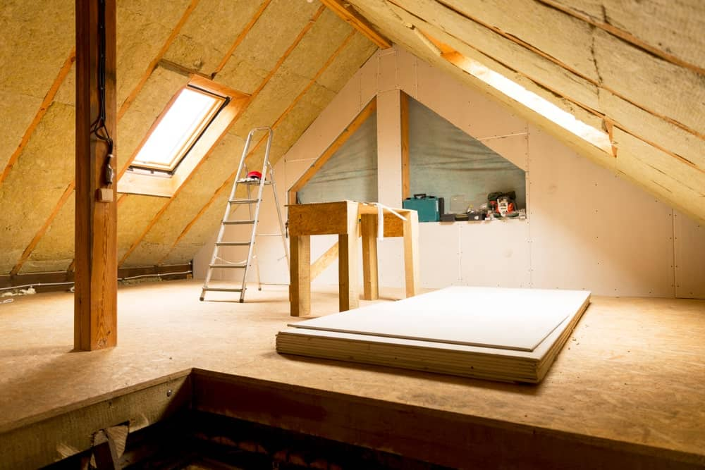 House attic wall insulation.