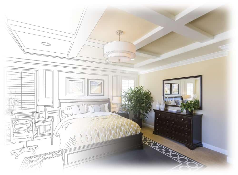 Bedroom drawing gradation into photograph
