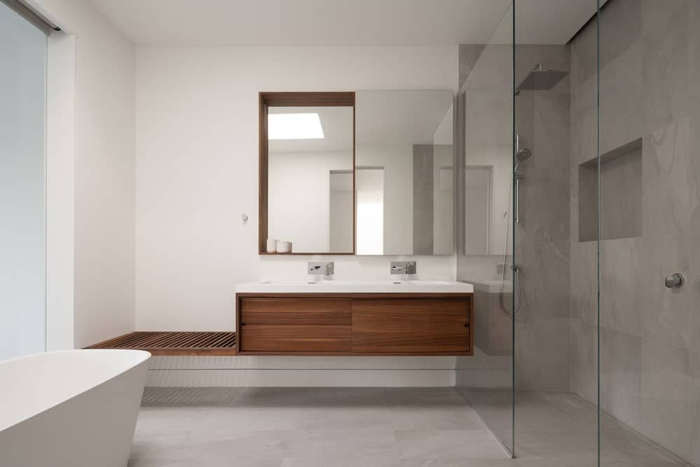 Primary bathroom in the BRICK HOUSE designed by Natalie Dionne Architecture.