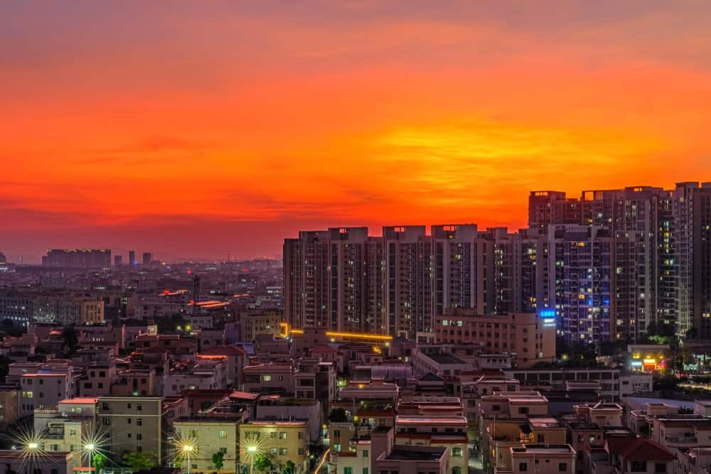 Residential area in a Chinese suburb during sunset.