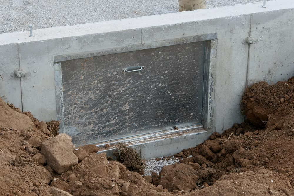 Crawl space door on a new house.