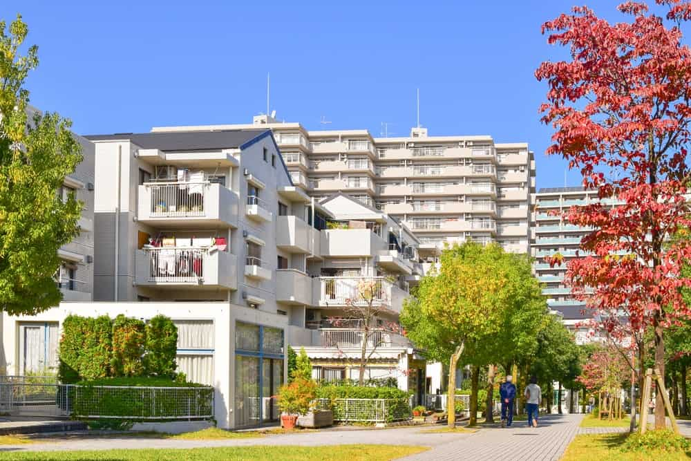Residential area in Tokyo suburb with colorful autumn leaves.